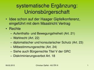 systematische Erg�nzung: Unionsb�rgerschaft