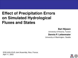 Effect of Precipitation Errors on Simulated Hydrological Fluxes and States