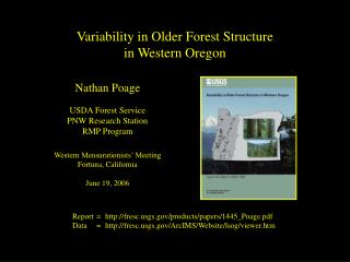 Variability in Older Forest Structure in Western Oregon