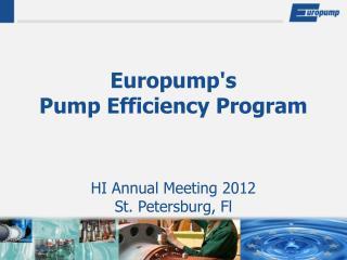 Europump's  Pump Efficiency Program