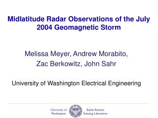 Midlatitude Radar Observations of the July 2004 Geomagnetic Storm