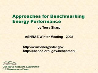 Approaches for Benchmarking Energy Performance
