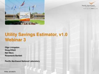 Utility Savings Estimator, v1.0 Webinar 3