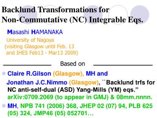 Backlund Transformations for  Non-Commutative (NC) Integrable Eqs.