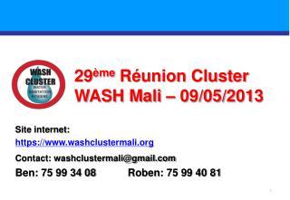 29 ème  Réunion Cluster WASH Mali – 09/05/2013