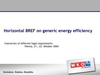 Horizontal BREF on generic energy efficiency