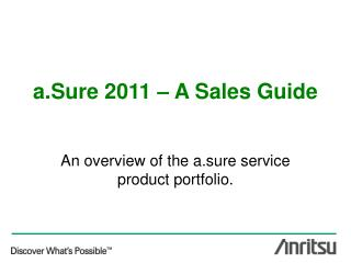 a.Sure 2011 – A Sales Guide