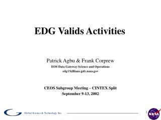 EDG Valids Activities