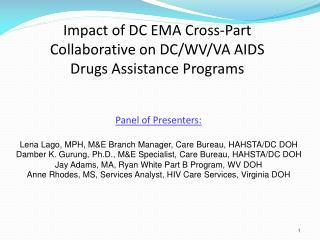 Panel of Presenters: Lena Lago, MPH, M&E Branch Manager, Care Bureau, HAHSTA/DC DOH