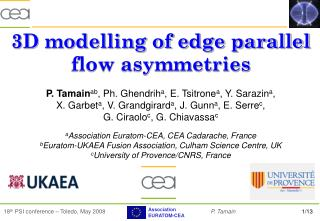 3D modelling of edge parallel flow asymmetries