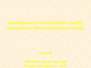 Development of Nutrient Water Quality Standards for Rivers and Streams in Ohio