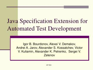 Java Specification Extension for Automated Test Development