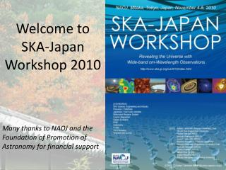 Welcome to  SKA-Japan  Workshop 2010