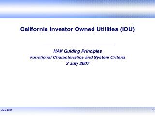 California Investor Owned Utilities (IOU)