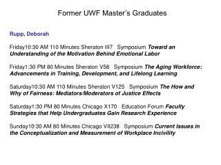 Former UWF Master's Graduates