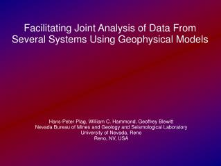 Facilitating Joint Analysis of Data From Several Systems Using Geophysical Models
