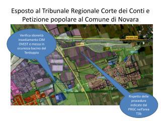 Esposto al Tribunale Regionale Corte dei Conti e Petizione popolare al Comune di Novara