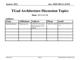 TGad  Architecture Discussion Topics