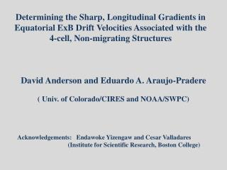 David Anderson and Eduardo A. Araujo-Pradere ( Univ. of Colorado/CIRES and NOAA/SWPC)