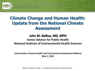 Climate Change and Human Health:   Update from the National Climate Assessment