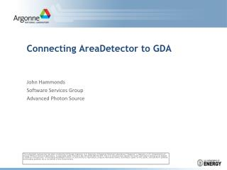 Connecting  AreaDetector  to GDA