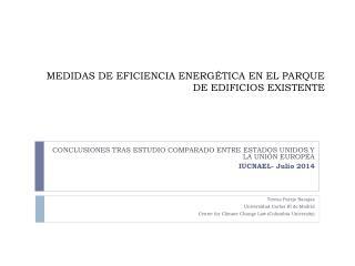 MEDIDAS DE EFICIENCIA ENERGÉTICA EN EL PARQUE DE EDIFICIOS EXISTENTE