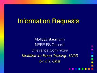 Information Requests