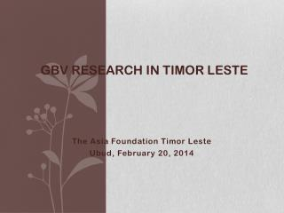 GBV Research in Timor  leste