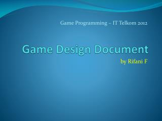 Game  D esign Document