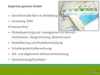 Expertise  geomer  GmbH
