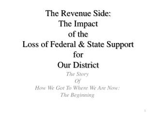 The Revenue Side: The Impact  of the  Loss of Federal & State Support  for  Our District