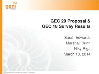 GEC 20 Proposal & GEC 18 Survey Results