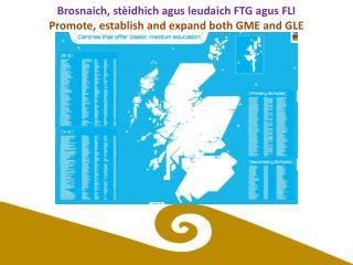Brosnaich ,  stèidhich agus leudaich  FTG  agus FLI Promote, establish and expand both GME and GLE