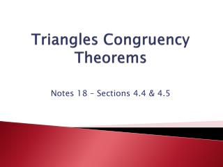 Triangles Congruency Theorems