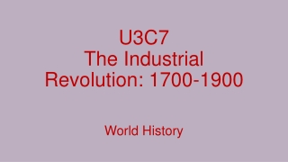 The Industrial Revolution 1700-1900