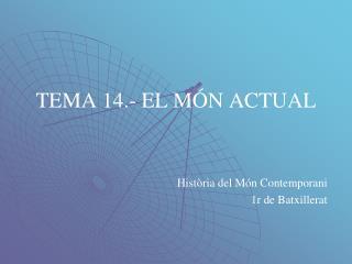 TEMA 14.- EL MÓN ACTUAL