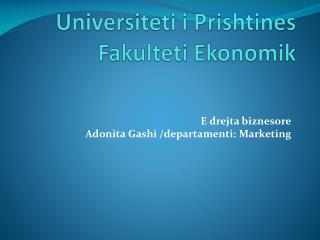 Universiteti i Prishtines Fakulteti Ekonomik