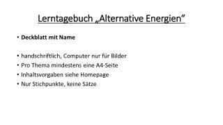 """Lerntagebuch """"Alternative Energien"""""""