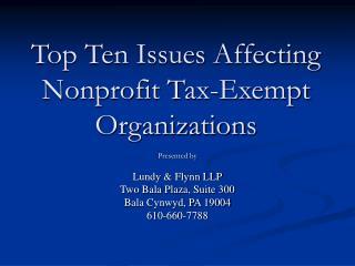 Top Ten Issues Affecting Nonprofit Tax-Exempt Organizations