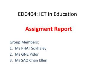 EDC404: ICT in Education