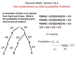 Discrete Math  Section 16.4 Use combinations to solve probability Problems