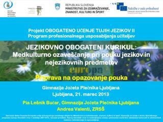 Projekt OBOGATENO UČENJE TUJIH JEZIKOV II Program profesionalnega usposabljanja učiteljev