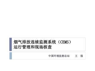 烟气排放连续监测系统( CEMS ) 运行管理和现场核查