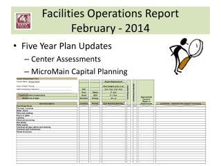 Facilities Operations Report February - 2014