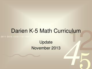 Darien K-5 Math Curriculum