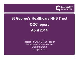 St George's Healthcare NHS Trust CQC report April 2014