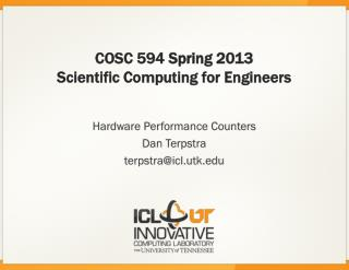 COSC 594  Spring 2013 Scientific Computing for Engineers
