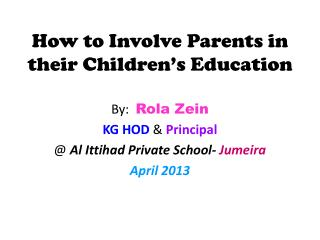 How to Involve Parents in their Children's Education