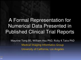 A Formal Representation for Numerical Data Presented in Published Clinical Trial Reports