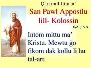 Qari  mill- Ittra  ta'  San Pawl  Appostlu lill -  Kolossin
